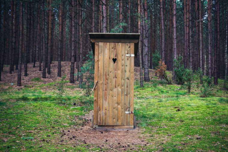 Outhouse in forest, Dziemiany commune of Cassubia region in Poland