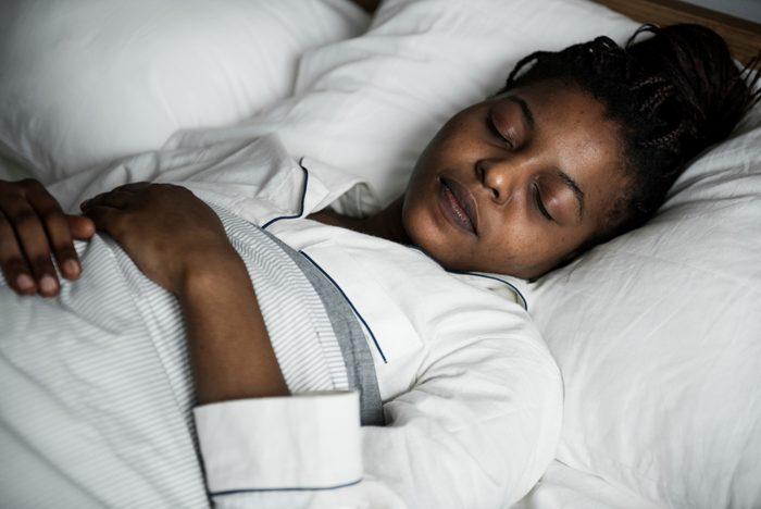 A woman sleeping soundly