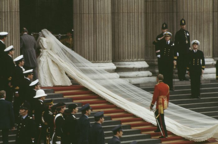 Veil of Princess Diana as she walks up the stairs to her wedding