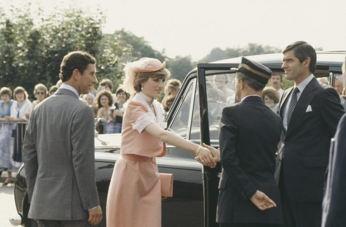 Prince Charles and Diana, Princess of Wales arrive at Romsey Station in England at the end of their wedding day, 29th July 1981. She is wearing an outfit by Bellville Sassoon
