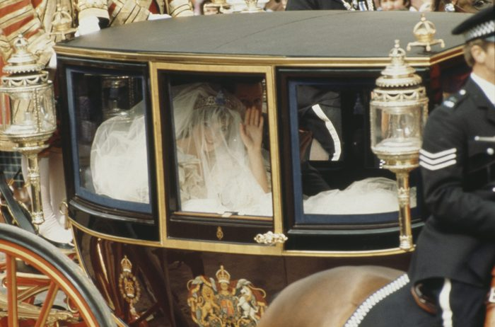 Lady Diana Spencer arrives in the royal coach for her wedding to Prince Charles at St Paul's Cathedral in London, 29th July 1981