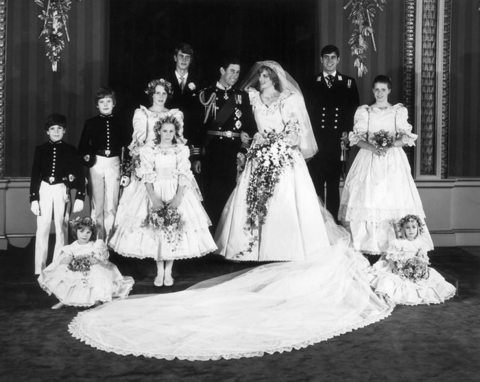 A family group In the throne room of Buckingham Palace after the wedding of Charles, Prince of Wales, and Princess Diana