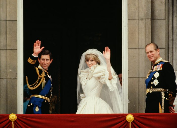LONDON, UNITED KINGDOM - JULY 29: Prince Charles And Princess Diana Waving From The Balcony Of Buckingham Palace. They Are Accompanied By Prince Philip