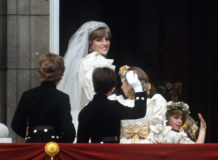 The Princess of Wales poses on the balcony of Buckingham Palace at her wedding
