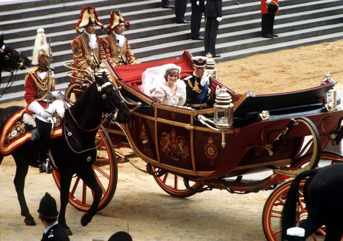 The Prince and Princess of Wales leaving St Paul's Cathedral by carriage after their wedding