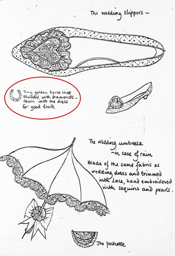 Sketches of accessories which will be worn or carried by Lady Diana Spencer during her wedding
