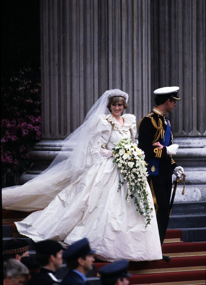 Prince Charles, Prince of Wales and Diana, Princess of Wales, wearing a wedding dress designed by David and Elizabeth Emanuel