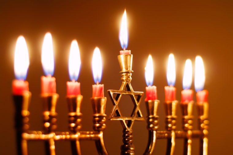 Closeup of a Hanukkah Menorah