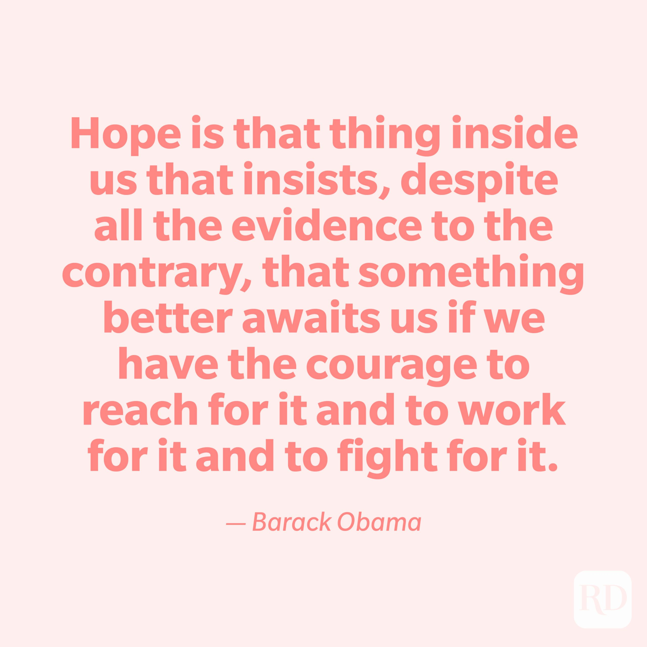 """""""Hope is that thing inside us that insists, despite all the evidence to the contrary, that something better awaits us if we have the courage to reach for it and to work for it and to fight for it."""" —Barack Obama."""