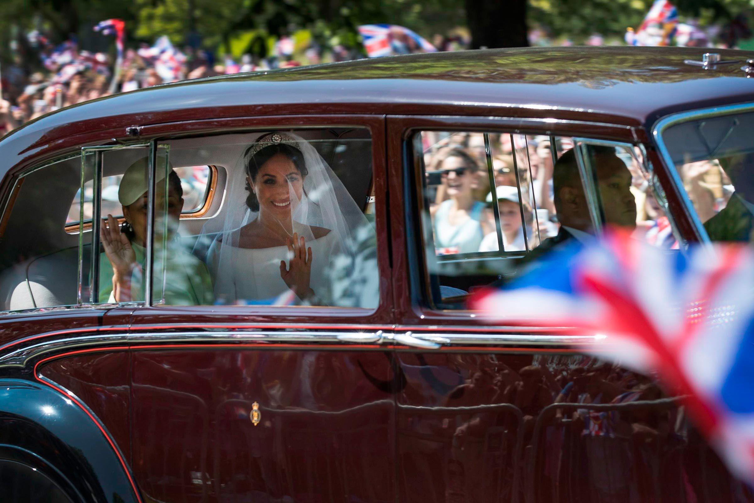 Meghan Markle arriving to wedding