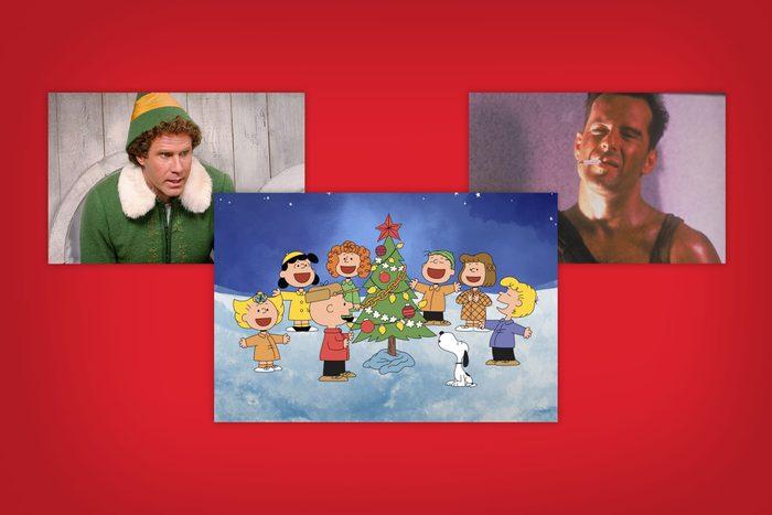 Christmas movie screenshots in staggering arrangement
