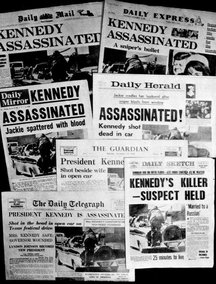Newspaper headlines for JFK assassination