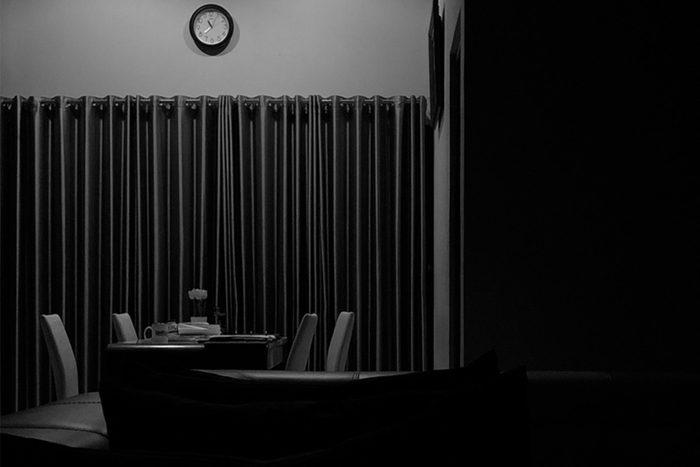 Dark dining room