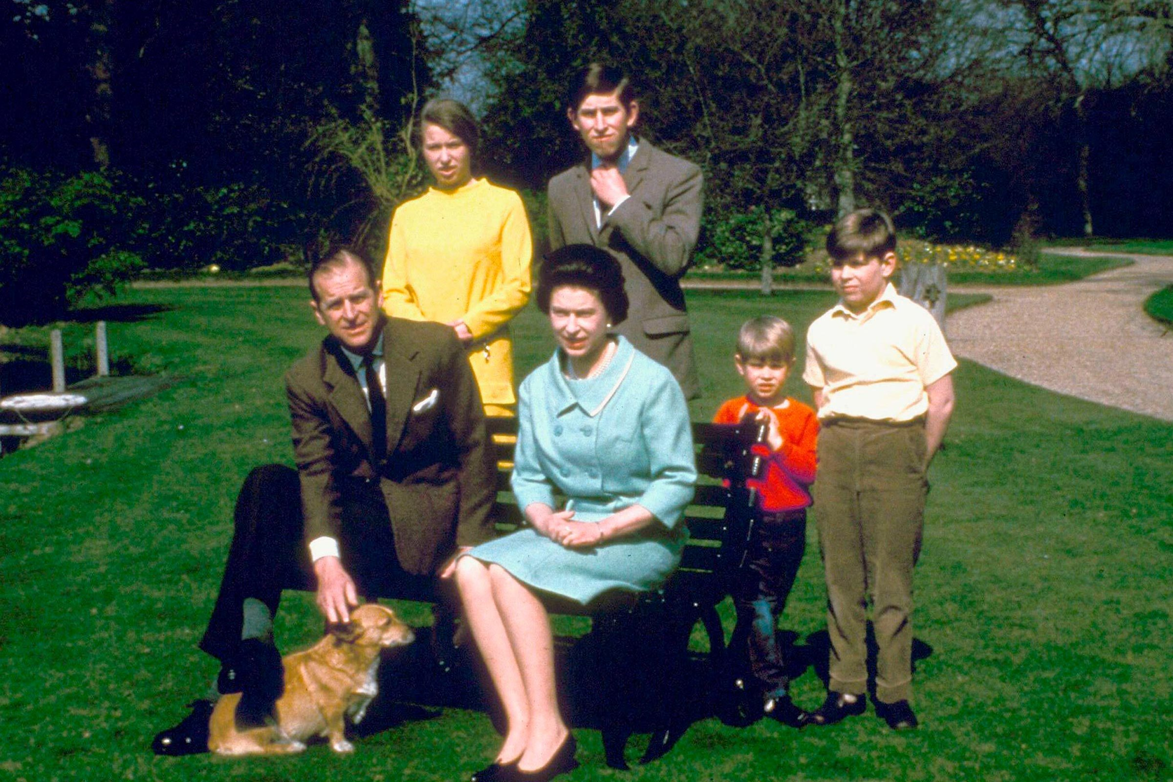 Queen Elizabeth II, Prince Philip, Princess Anne, Prince Charles, Prince Andrew
