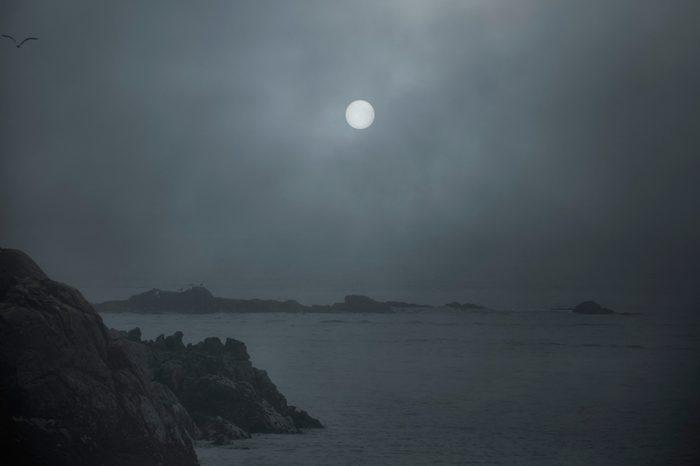 Rocky sea in a foggy full moon night