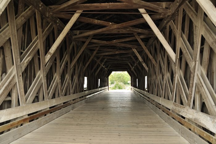Inside of Covered Bridge over Zumbro River in Zumbrota, Minnesota