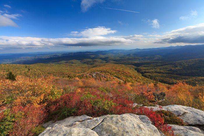 Tanawha Trail, North Carolina. Great colors of trees leaves.