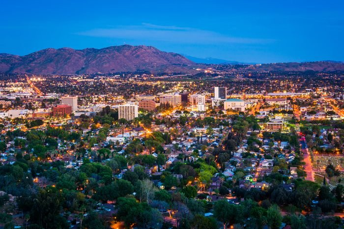 Twilight view of the city of Riverside, from Mount Rubidoux Park, in Riverside, California.