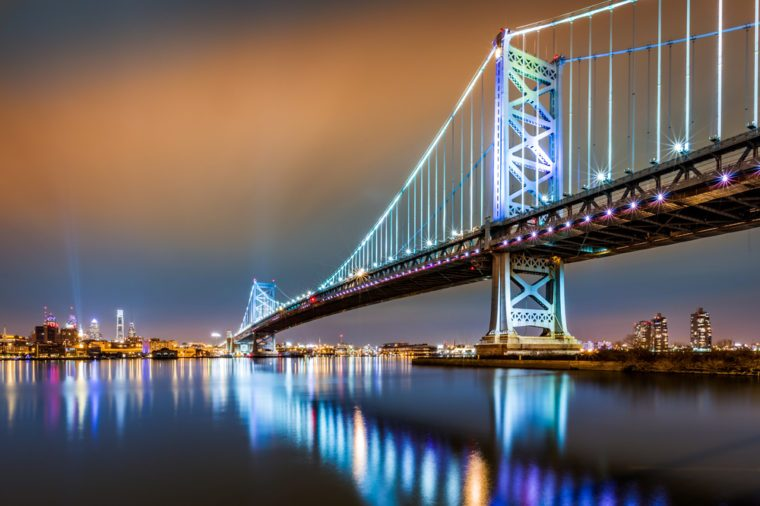 Ben Franklin Bridge and Philadelphia skyline by night as viewed from Camden, across the Delaware river