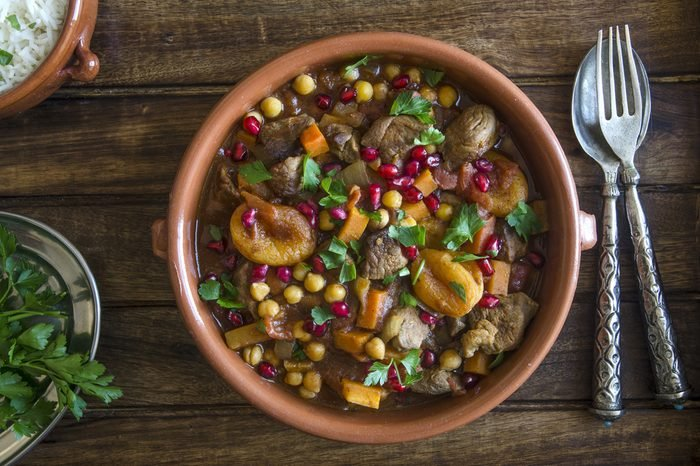 Lamb tagine with chickpeas, apricots and pomegranate seeds