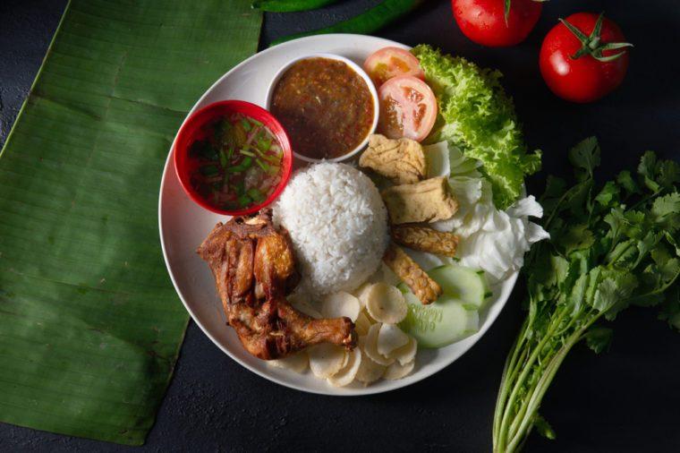 nasi lemak kukus top view, malaysian local food