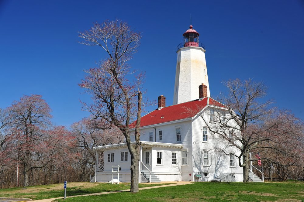 Sandy Hook Lighthouse and tower at the Jersey Shore