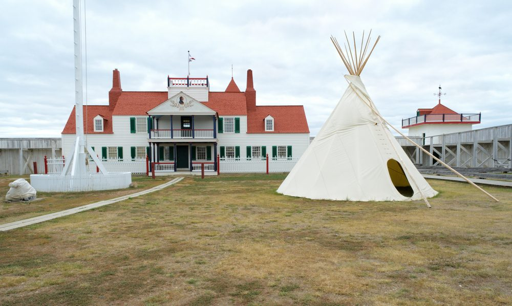 historic Fort Union Trading Post interior and native american teepee