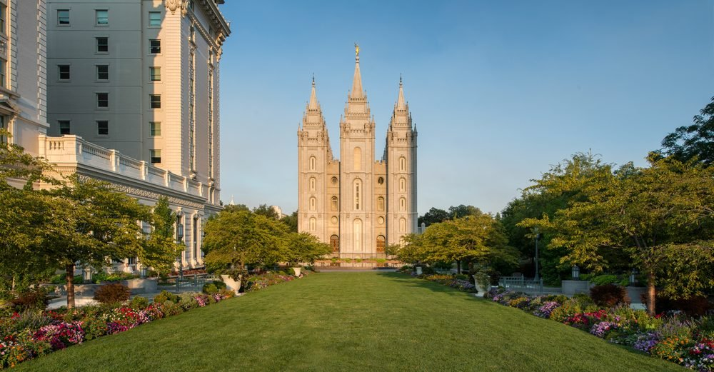 Salt Lake Temple in the early morning at Temple Square in Salt Lake City, Utah
