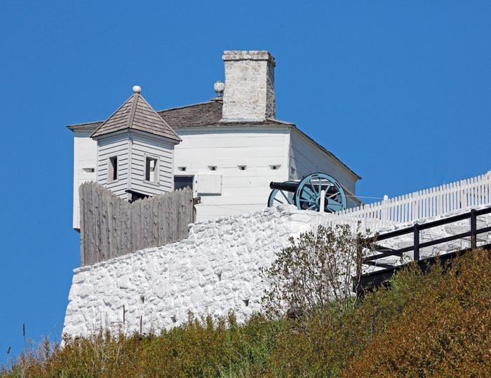 Blockhouse and cannon at Fort Mackinac, Mackinac Island, Michigan, USA