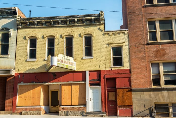 Old abandoned storefronts in historic Butte, Montana