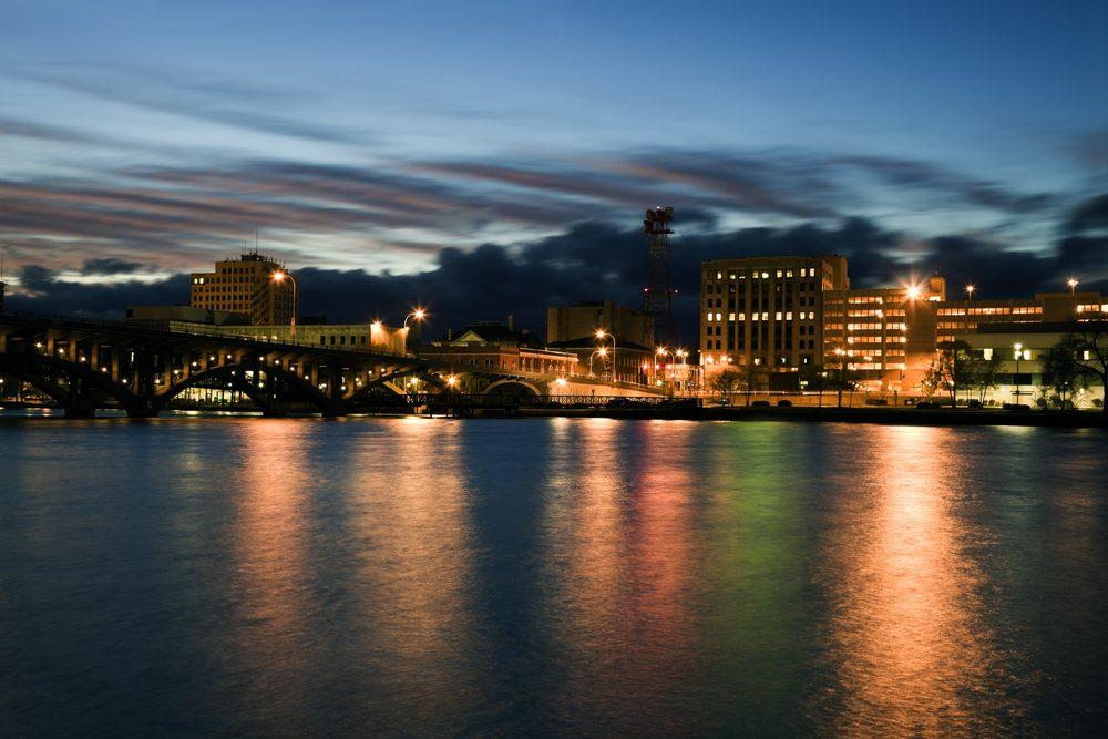 Sunset in Rockford, Illinois, USA.