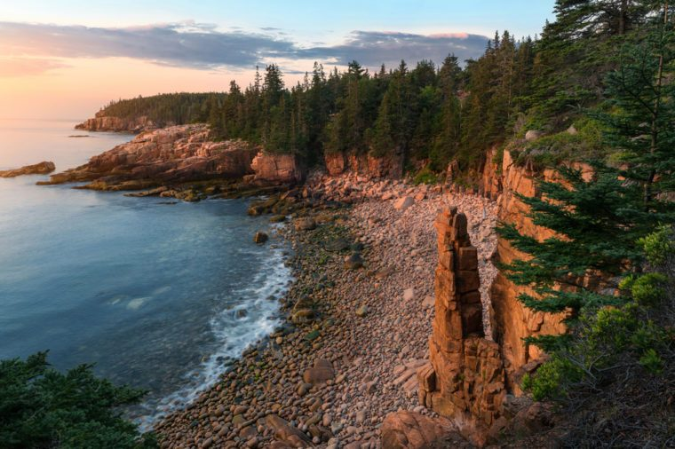 rugged Acadia coast at sunrise