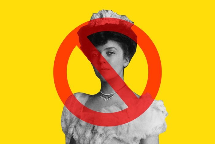 Alice Roovsevelt on yellow background with cancel sign over her face