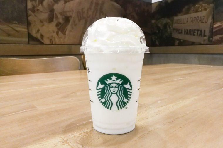 Bangkok, Thailand - Aug 30, 2017 : A cup of Starbucks coffee blended beverages, Vanilla bean frappuccino