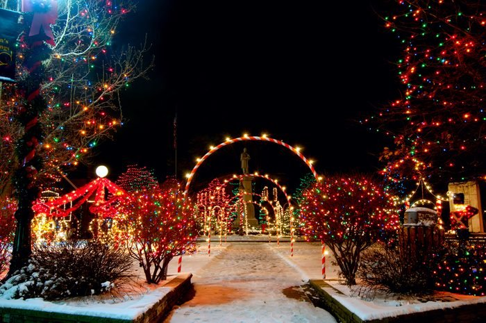 Colorfully lighted village square Christmas display in Bedford, Ohio