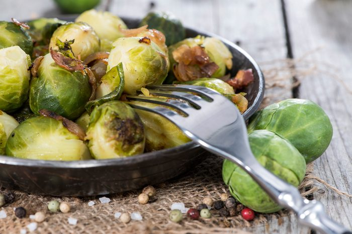 Fried Brussel Sprouts with Ham and Onions