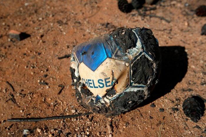 Burnt soccer ball