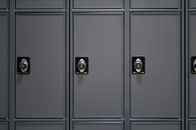 Personal lockers in building.