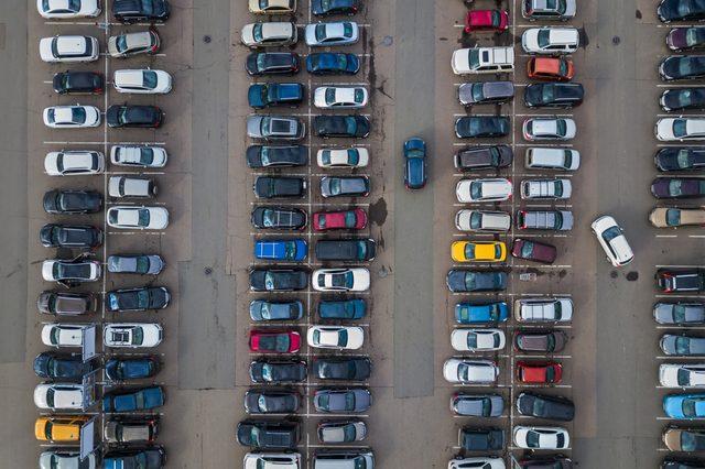 Car parking - aerial view - transportation background