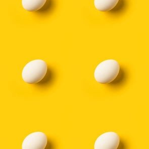 Set of Chicken eggs isolated on yellow
