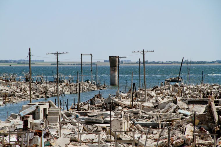 EPECUEN, ARGENTINA - DECEMBER 4: Dead City - the enormous volume of water broke the rock and earth embankment, and inundated much of the town, December 4, 2010 in Epecuen, Argentina.
