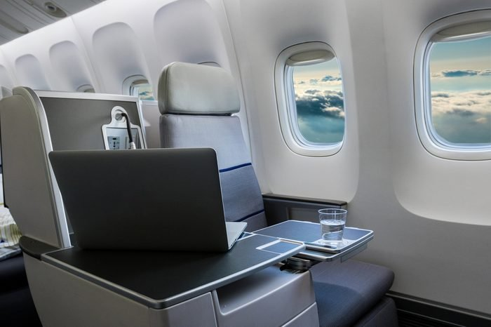 Airplane cabin business class interior view