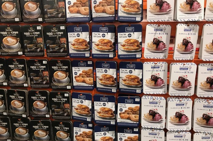 FOLSOM, CALIFORNIA, USA - OCT 3, 2017: Costco wholesale warehouse shopping aisle for coupons and discounted gift cards, a members only club.