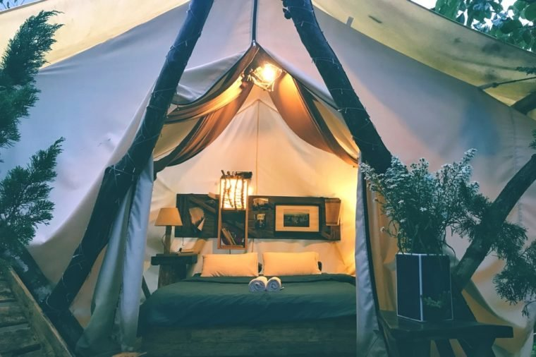 The beautiful tent with vintage interior style.