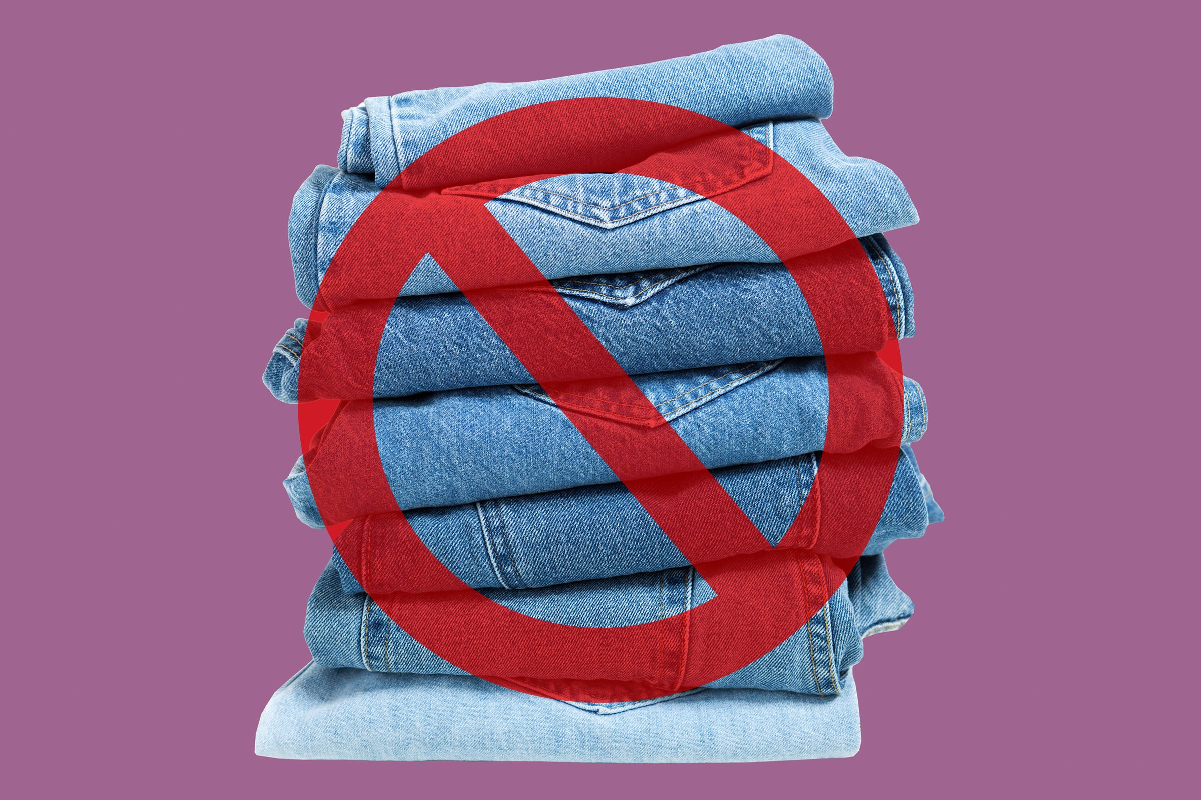 Jeans on purple background with cancel sign over it