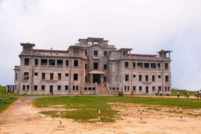 Kampot. Cambodia . May 9. 2014 Abandoned hotel 'Bokor Palace' in Ghost town Bokor Hill station near the town of Kampot. Cambodia