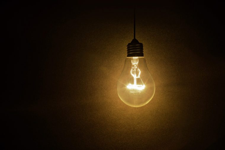 light bulb on dark background, concept of creativity.