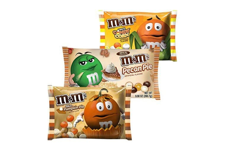 M&Ms Milk Chocolate Candies | White Pumpkin Pie, White Candy Corn & Pecan Pie Candy | Artificial Flavor 8.0 Oz Bag | Autumn, Fall & Winter Themed Candy. (3 Flavors)