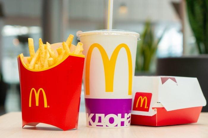 Moscow, Russia, March 15 2018: McDonald's Big Mac hamburger menu, French Fries and Coca Cola