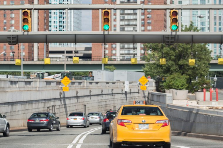 NEW JERSEY - JUNE 14: entrance to Holland Tunnel on June 14, 2014 in New Jersey. The Holland Tunnel is a highway tunnel under the Hudson River connecting Manhattan in New York City with Jersey City.